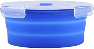 1200ml Collapsible Silicone Lunch Box, Round Portable Folding Food Storage Container Round Silicone Picnic Bento Box Kitchen Food Container Gift (Dark Blue)