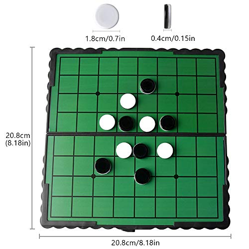 Reversi Chess 8.3 Inch Othello Chess 64 Game Pieces Black & White Chess Foldable Magnetic Board for Home and Travel-2 Players
