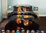 HUAJIE 2 Piece Set Beautiful Soft 3d Print Vivid Animals Pattern Box Stitched Comforter Set (1 Comforter,1 Pillowcase) (Twin, Tiger Lion)