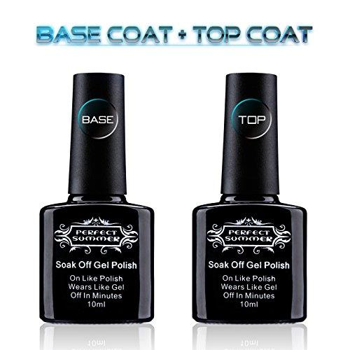 Perfect Summer Gel Nail Polish Base Coat and Top Coat Set - UV LED Soak Off Nail Polish ,10ml Each