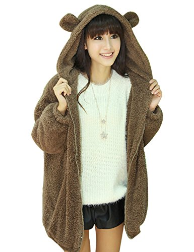 Gihuo Women's Cute Bear Ears Plush Hooded Fleece Jacket Zip up Sweatshirt (One Size, Brown) Bear Fleece Hoodie