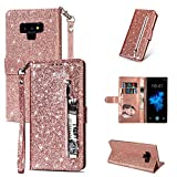 ZCDAYE Galaxy S7 Edge Wallet Case,Bling Glitter Sparkly Zipper PU Leather Magnetic Flip Folio Card Pockets Holder with Wrist Strap Stand Protective Case Cover for Samsung Galaxy S7 Edge - Rose Gold