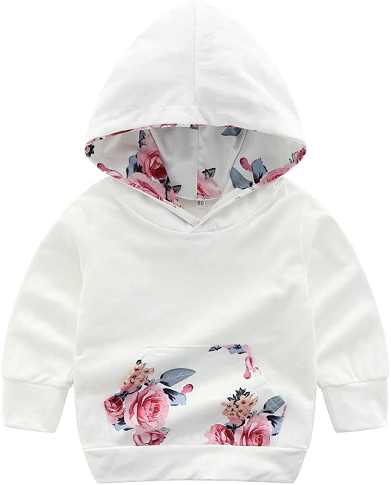 Voberry Baby Girls Floral Print Sweatshirt White Hoodie Pullover Tops with Kangroo Pocket