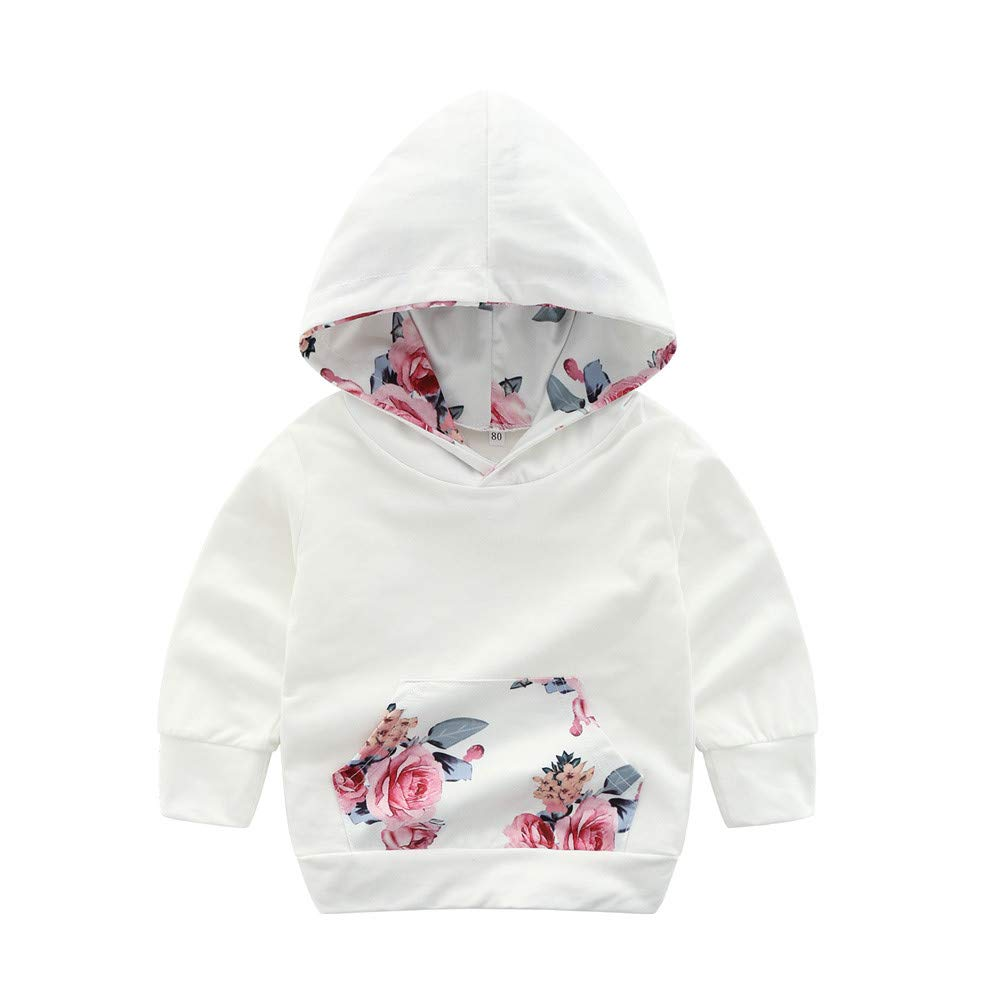 FORESTIME Fashion Baby Girls Hooded White Winter Warm Jacket Casual 0-24 Months Floral Print Sweatshirt Coat Pullover