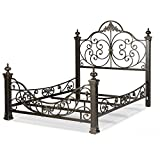 Leggett & Platt Baroque Complete Metal Bed and Bedding Support System with Highly Decorated Design and Massive Finial Posts, Gilden Slate Finish, King: more info