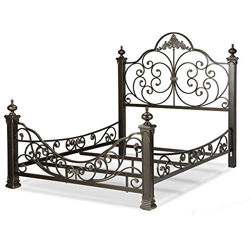 Leggett & Platt Baroque Complete Metal Bed and Bedding Support System with Highly Decorated Design and Massive Finial Posts, Gilden Slate Finish, King