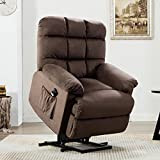 ANJ Power Lift Recliner Chair for Elderly with Over Stuffed Armrest and Comfort Broad Backrest, Remote Control for Gentle Motor, Chocolate