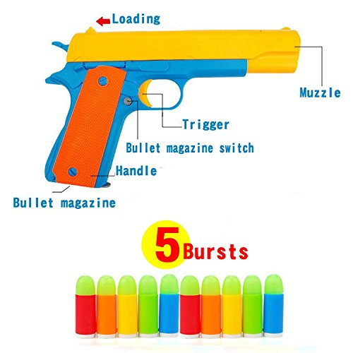 (Ferbixo Realistic Colt 1911 Toy Gun with 10 Colorful Soft Bullets, Ejecting Magazine , Slide Action for Training or Play)