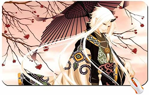 Art Trees Demons Horns Long Hair Red Eyes Male Anime Boys Umbrellas White Hair Japanese Clothes Pointy E Big Mouse Pad Computer Mousepad Dimensions 23 6 X 13 8 X 0 2 Amazon Ca Office Products