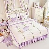 Zacard Rustic Dandelion 3d Bedding Set Purple Kids Unique Flannel Ruffle Duvet Cover Princess Vintage Handmade Bed Skirt Twin Full Queen King Size 4pcs (Purple, Queen)