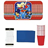 D.C. Super Hero Girls Party Supply Kit (Cake Plates, Cups, Napkins, and Forks for 16 guests)