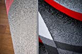 2305 Gray Black Red White Swirls 8'9 x 12'6 Modern