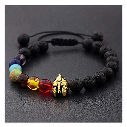 Giwotu Roman Knight Spartan Warrior Gladiator Helmet Bracelet Men Stone Bead Bracelet Mala Yoga Elastic Bracelet 4 -