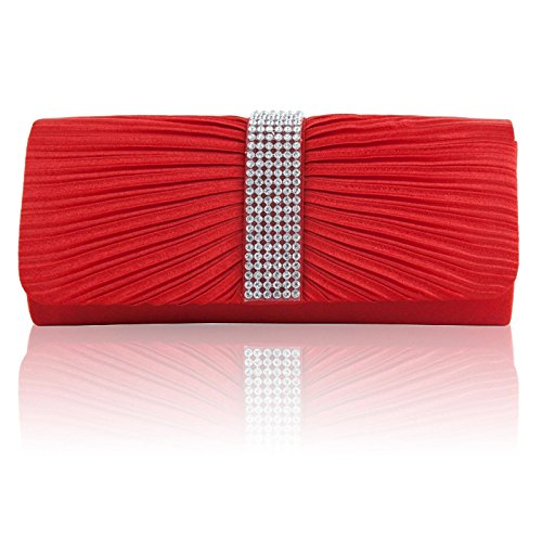 Clutch Diamante Pleated Shoulder Prom Satin Handbags Ladies Bags Bridal Red Zarla Designer Women Party q6SnU