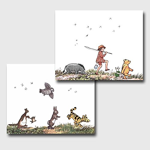 (Set of 2) Classic Pooh Nursery Wall Art (Winnie the Pooh Decor, Baby Room Prints)