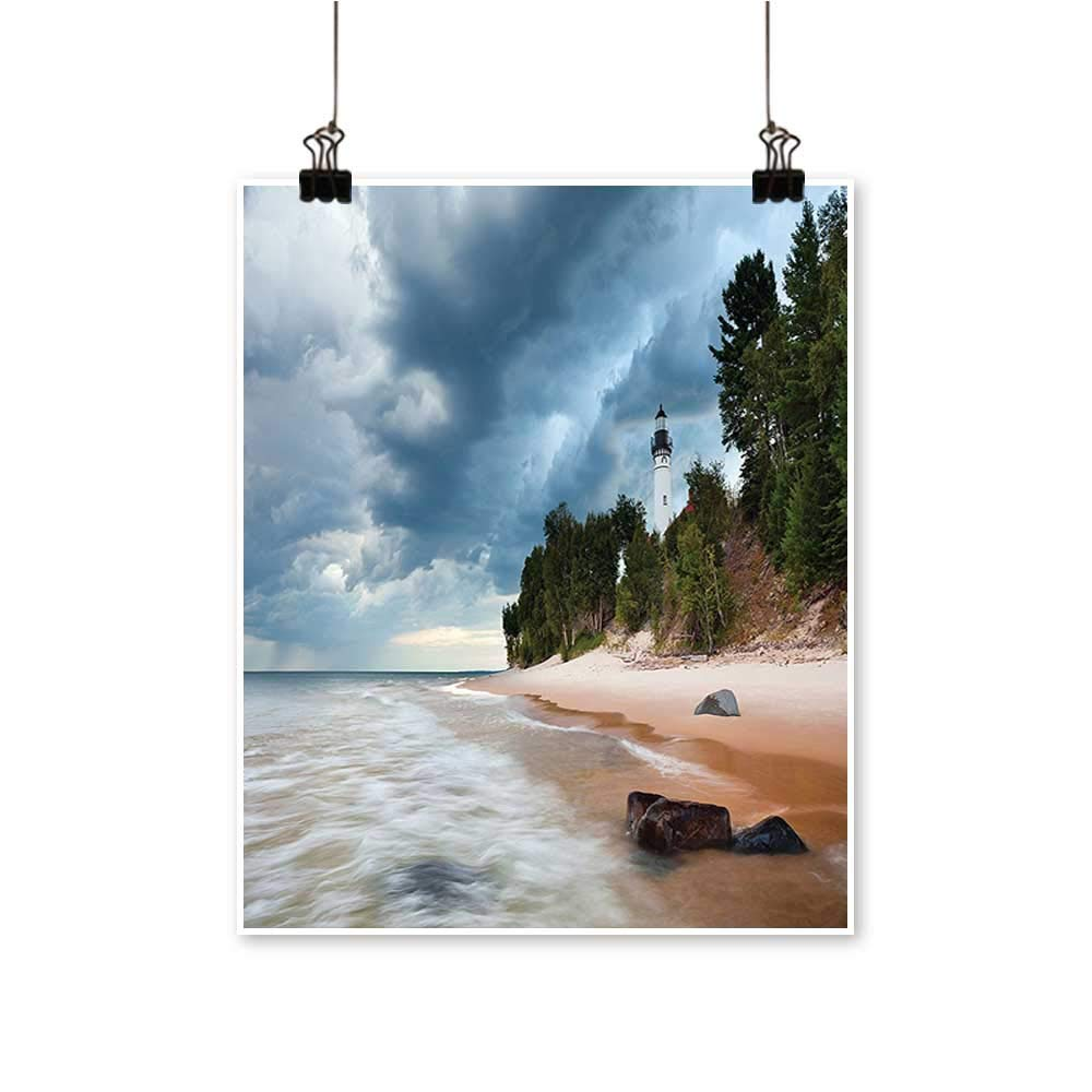 Art-Canvas Prints Au Sable Lighthouse in Pictured Rock National Lakeshore Michigan USA Picture Cl Wall Art for Living Room Decoration,28''W x 52''L/1pc(Frameless) by painting-home