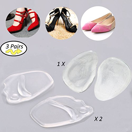 (3 Pairs)Ball Of Foot Cushions Relief Pain for Women Insoles ,Anti-Slip Forefoot Gel Metatarsal Pad for High Heel & Sandal