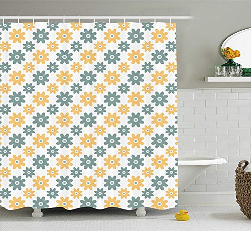 Garden Shower Curtain, Lively Cute Wildflowers Daisies Retro Fashion Spring Nature Print, Fabric Bathroom Decor Set with Hooks, 60 W x 72 L inches, Almond Green Apricot Mustard