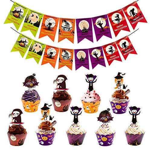 48 Sets Halloween Cupcake Toppers Wrappers Liners and 2 Banners for Halloween Party Cake Decoration ()