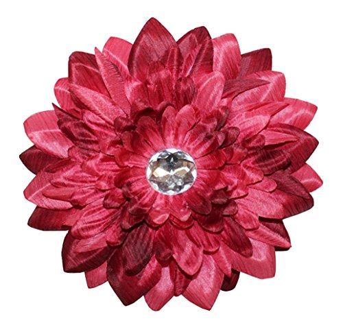 - WD2U Gerber Daisy Rhinestone Flower Hair Bow Alligator Clip Pin Burgundy 8035