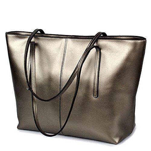 G-AVERIL Bolso shopping bag de mujer piel auténtica.Bolso cuero genuino grabado azul Gris