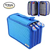 Yosoo 72 Piece Colors Pencil Case Pen Bag Pouch Stationary Case with Large Capacity Oxford Multi-layer Pencil Organizer (Blue)