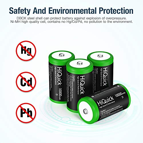 HiQuick 10000mAh D Rechargeable Batteries - 1.2V Huge Capacity Size D Battery, Ni-MH D Cell Batteries Pack of 4