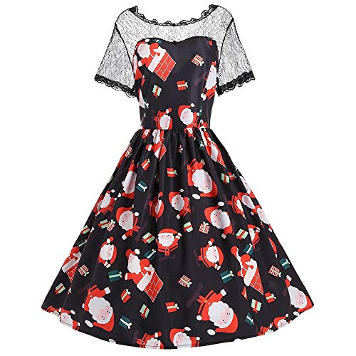 Ladies Christmas Santa Claus Print Lace Trim Dress for Women Plus Size from Nextmia