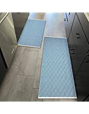 HEBE 2 Pieces Runner Rugs, 2'x3'+2'x4.2' Diamond Washable Laundry Room Carpets, Cotton Handmade Reversible Entryway Rugs for Entrance, Bedroom, Living Room and Kitchen, Lake Blue