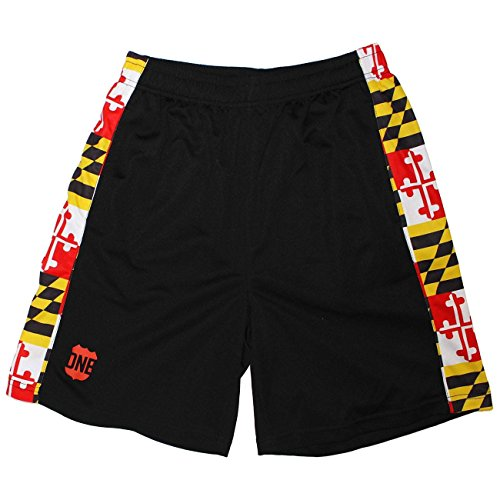- Route One Apparel Maryland Flag/Running Shorts (Men) (2XL) Black