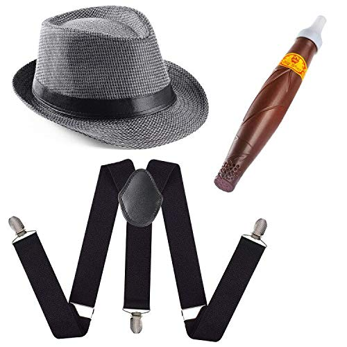 Beelittle 1920s Men Accessory Set Manhattan Hat, Y-Back Suspenders, Gangster Tie, Toy Fake Puff Cigar (D) ()