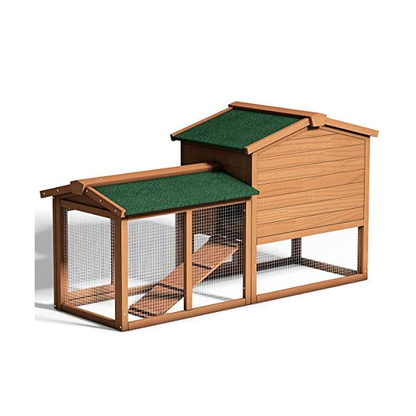 Tangkula Chicken Coop, Wooden Large Outdoor Poultry Cage (Such as Bunny/Rabbit/Hen) with Ventilation Door and Removable Tray & Ramp, 58'' Chicken Rabbit Hutch 10