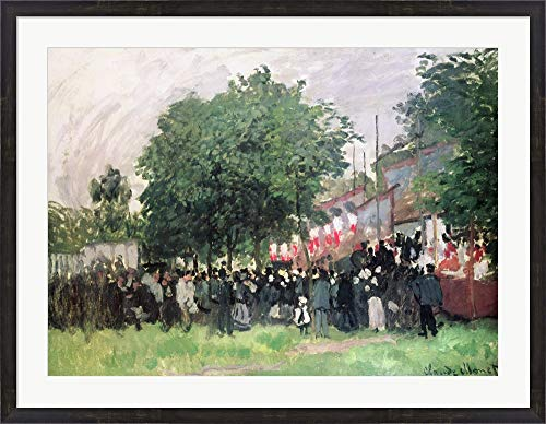 The Fourteenth of July (Bastille Day) by Claude Monet Framed Art Print Wall Picture, Espresso Brown Frame, 41 x 32 inches