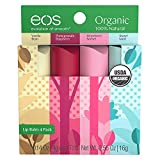 eos Natural & Organic Stick Lip Balm | Variety Pack | Strawberry Sorbet, Sweet Mint, Vanilla Bean, and Pomegranate Raspberry | Certified Organic & 100% Natural | 0.14 oz. | 4-Pack