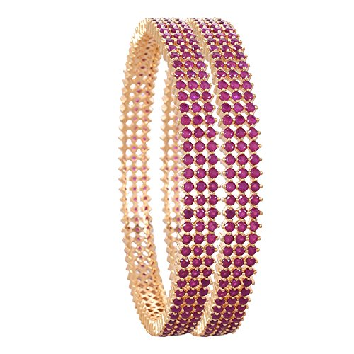 Ratnavali Jewels CZ Zirconia Gold Tone Red Diamond Elegant Bollywood Indian Bangles Jewelry Women (Red, 2.8)