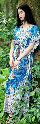 Manchon Bawting Lâche Occasionnels Rétro Des Femmes Soojun Robes Maxi Cordonnet Paysan Bleu Jaune