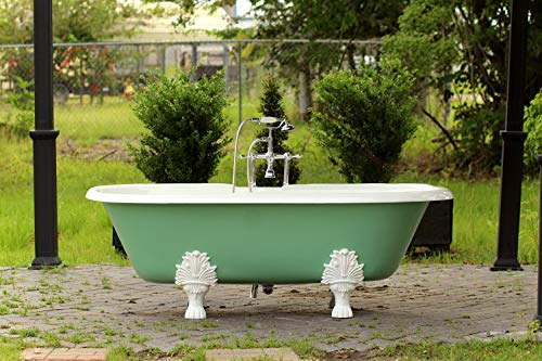 """Antique Cast Iron Tubs - Double Ended 72"""" Antique Inspired Arsenic Green Cast Iron Porcelain Clawfoot Bathtub Package Original Finish"""