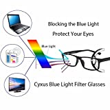 Cyxus Blue Light Filter (Flexible Spring Inside) Computer Glasses, UV Blocking [Anti-Eyestrain] Rectangular Reading Eyewears