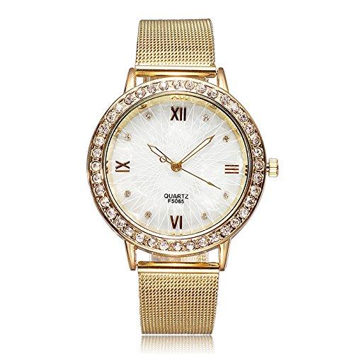 Women's Vintage Rose Gold Shell Dial Diamond Quartz Watch