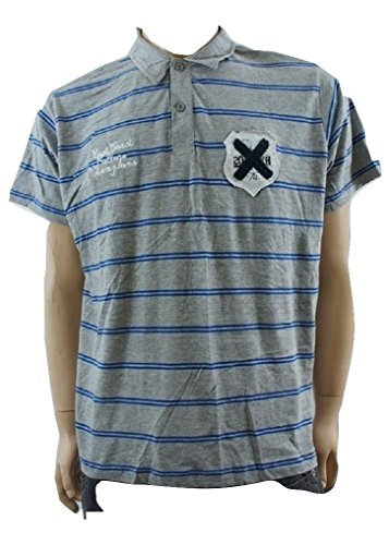 M&P Fashion Herren Poloshirt Blau Grey / Blue Striped