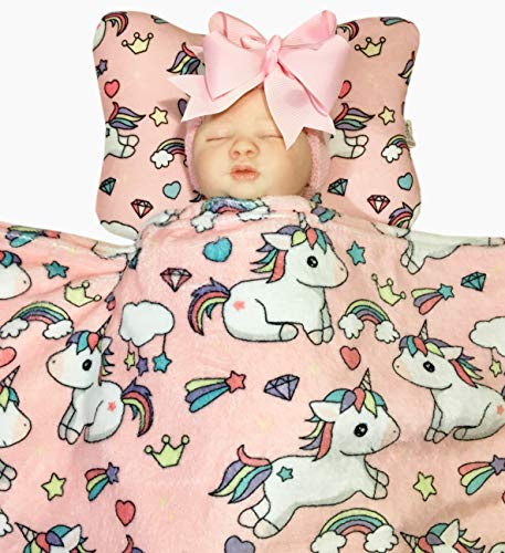 (Bling Mami Head Shaping Baby Pillow with Pink Unicorn Fleece Blanket (2 Pc. Set) Ergonomic Support to Help Prevent Flat Head Syndrome   Newborn Infant Sleeping Comfort)
