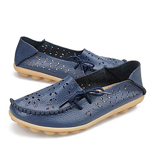 Fereshte Womens Lederen Uitsparing Casual Loafers Slip-on Slippers Rijden Platte Schoenen Voor Moeder Donkerblauw