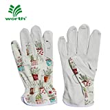 Worth Working Gloves for Women Gardener Planting,Restoration Work,Cute Canvas & Leather Protective Gardening Gloves, Cheerful Bonsai Print Design