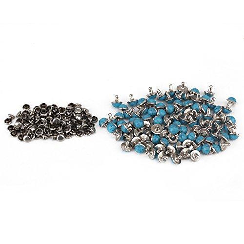 RDEXP Blue Turquoise Rapid Rivet Studs for Leather Belt Bracelet Craft DIY Decorative Pack of 100 (8.5MM Dia ()
