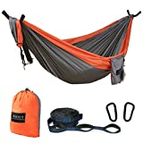 ASOUT Double Camping Hammock-Lightweight Nylon Portable Hammock Hammock Tree Straps Outdoor Backpacking Travel.(Orange/Light Grey, Double)