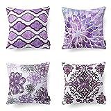 Purple Throw Pillows Phantoscope Set of 4 New Living Series Decorative Dark Purple Throw Pillow Case Cushion Cover 18
