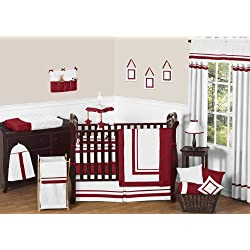 Sweet Jojo Designs White and Red Modern Hotel Unisex Baby Bedding 9 piece Girl Crib Set