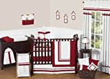Sweet Jojo Designs 9-Piece White and Red Modern Hotel Unisex Baby Bedding Boy or Girl Crib Set
