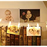 LED Photo Clips String Lights, Kany Battery Powered 10 Feet 20 LED Clear Clips Lights Christmas Lights Starry light for Hanging Photos Paintings Pictures Card and Memos