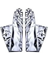 Fions Long Lame Nylon Gloves in Shiny Silver one size